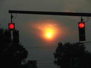 stoplights at twilight