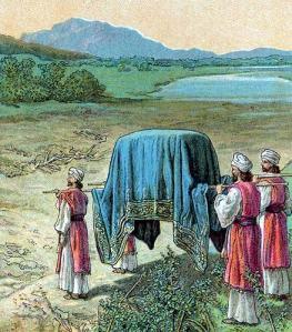 Priests step into the Jordan River