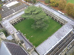 Salisbury_Cathedral,_cloister,_from_top_of_tower