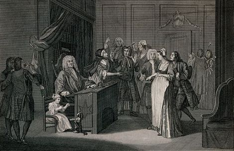 A_courtroom_scene_with_a_judge,_a_pregnant_woman,_a_guilty_l_Wellcome_V0039186