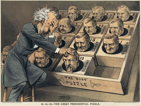 1880 - Illustration shows Senator Roscoe Conkling, leader of the Stalwarts group of the Republican Party, playing a puzzle game. All blocks in the puzzle are the heads of the potential Republican presidential candidates, among them Grant, Sherman, Tilden, and Blaine.
